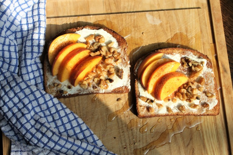 Philadelphia Cream Cheese peaches and cream cheese toast is a great alternative to avo toast