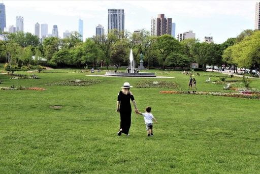 The lawn in front of the Lincoln Park Conservatory has the entire Chicago skyline in the background.