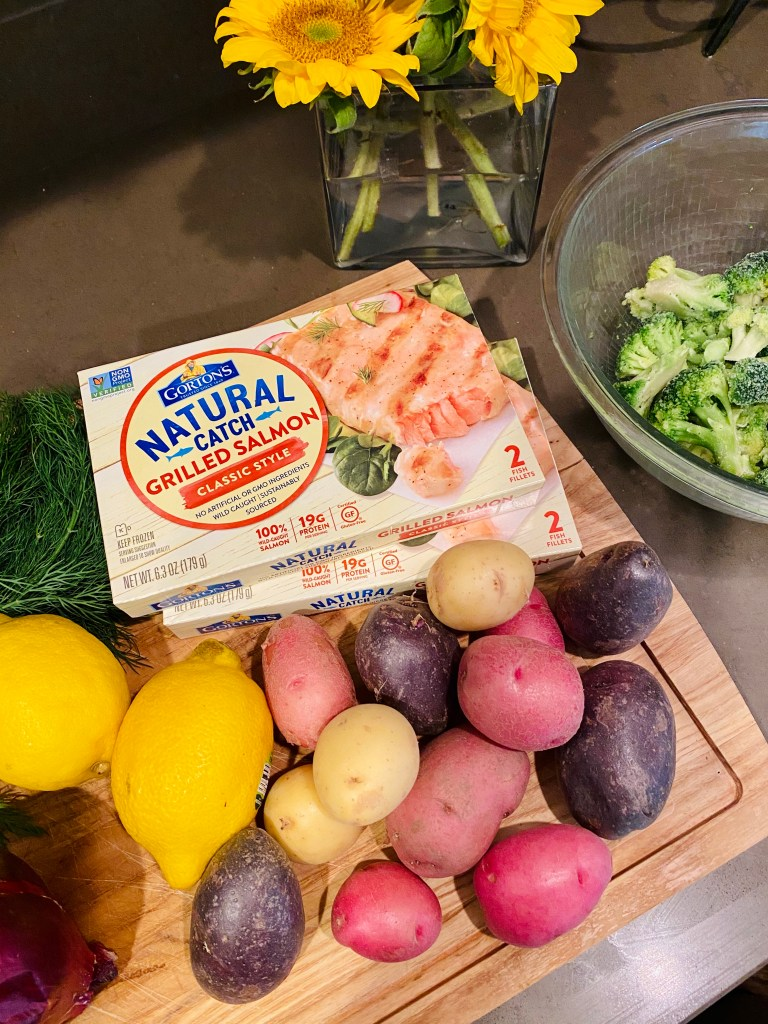 Gorton's All Natural Seafood Salmon makes an easy sheet pan meal and ready in 17 minutes.