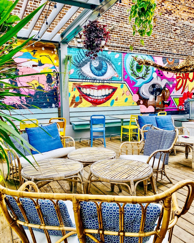 Six06 Greek Bar and Cafe is located in West Town. They have a great rooftop.