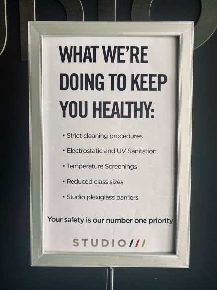 Studio Three is taking extra precautions for their workout class. Reduce class size, plexi glass and more.