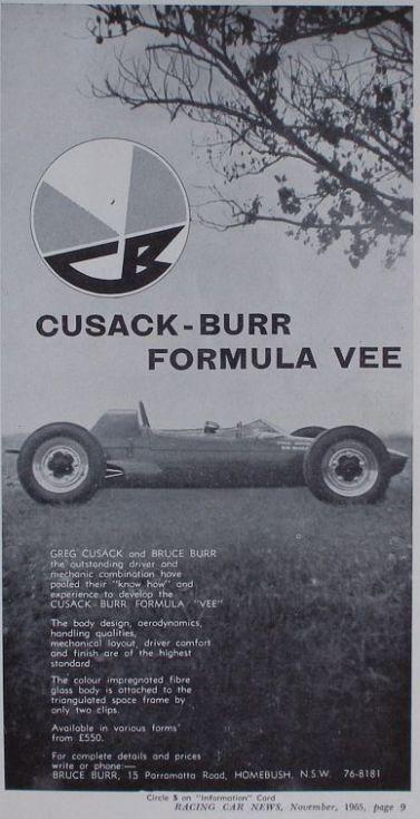 Cusack-Burr Formula Vee Advertisement