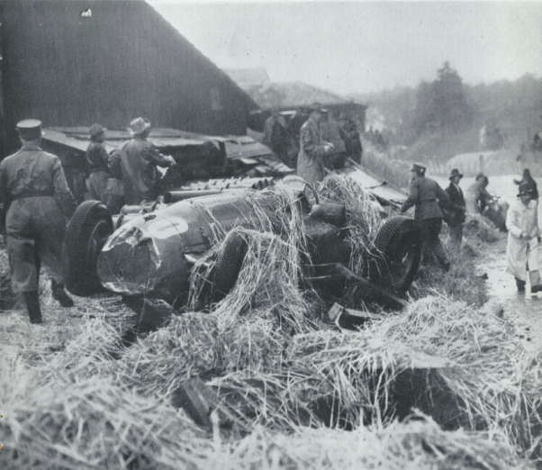 Henri Louveau's Talbot-Lago T26 after crashing in the 1951 Swiss GP