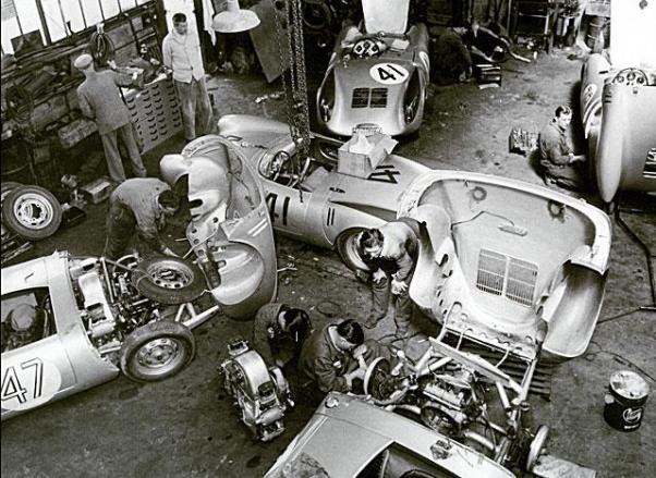 Spyder prep at the Teloché Garages near LeMans Circuit.