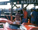Fangion in the Maserati pits at Sebring - 1957