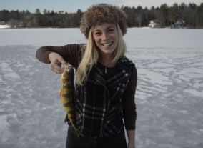 Ice Fishing on Lake Winnipesaukee, N.H