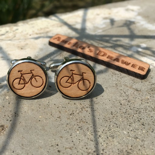 Drawer Bicycle Wooden Cufflinks