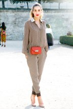 print-jumpsuit-street-style-graphic-checkered-print-collared-shirt-jumper-ankle-cuff-nude-heels-cross-body-chain-strap-tangerine-orange-bag-red-lips-strong-brows