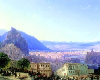 Aivazovsky was a Russian of Armenian descent, and was one of those landscape painters that just don't stop, ever, and left something like 9,000 works, but this was his famous one of Tbilisi. It has good camels.