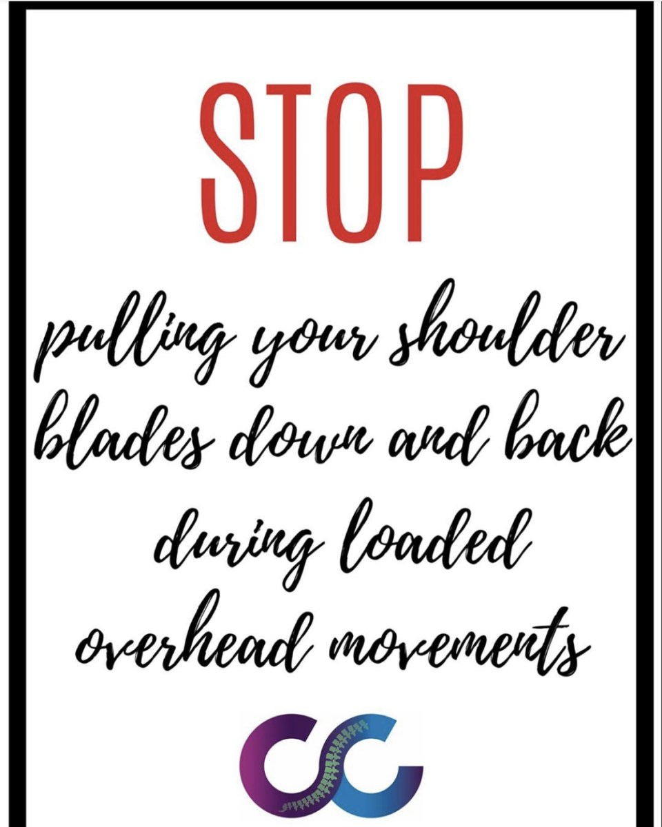 stop pulling your shoulders down and back during overhead loaded movements - The Chiro Co logo at the bottom