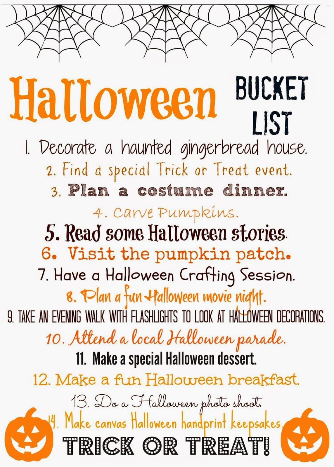 Halloween Bucket List Free Printable