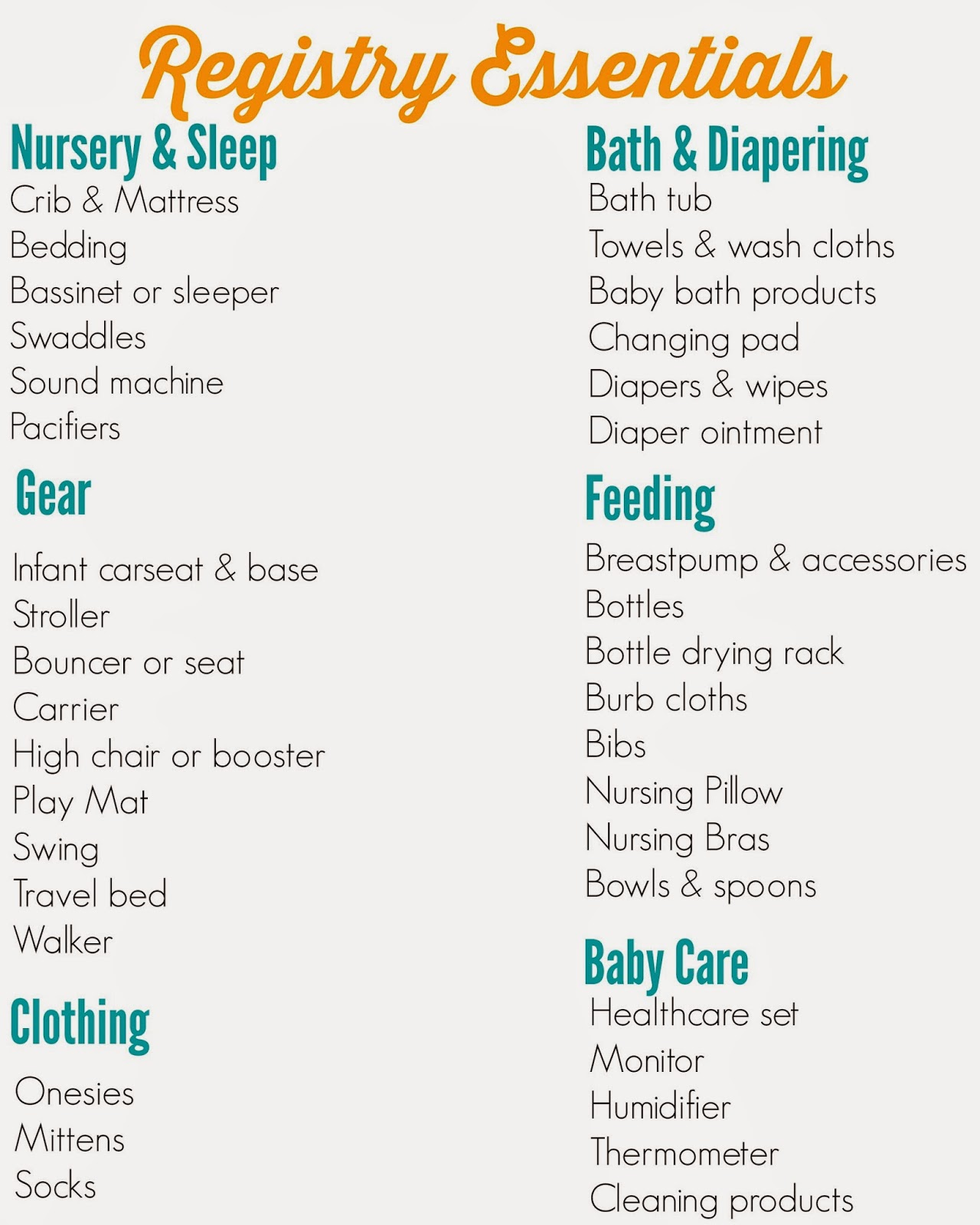 Baby Shower Checklist Organization