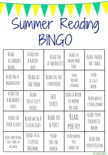 Summer Reading Bingo Challenge for Kids    The Chirping Moms