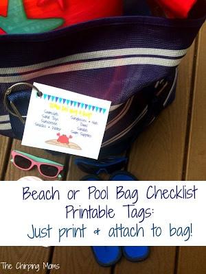 Printable Beach Bag Checklist Tags || The Chirping Moms