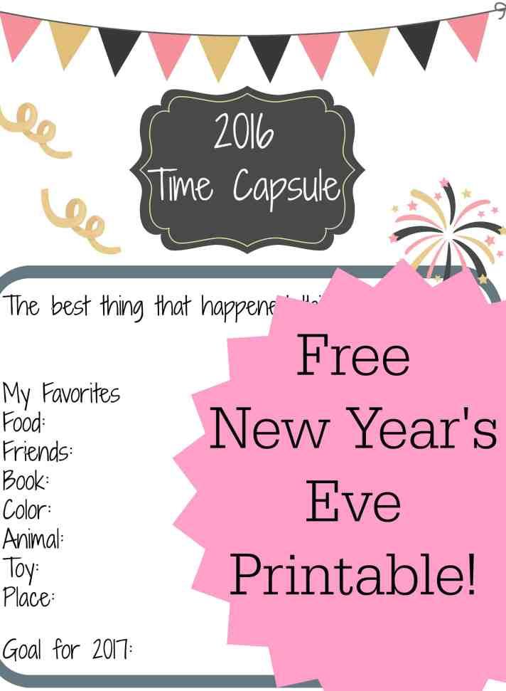 New Year's Eve Kids Free Printable