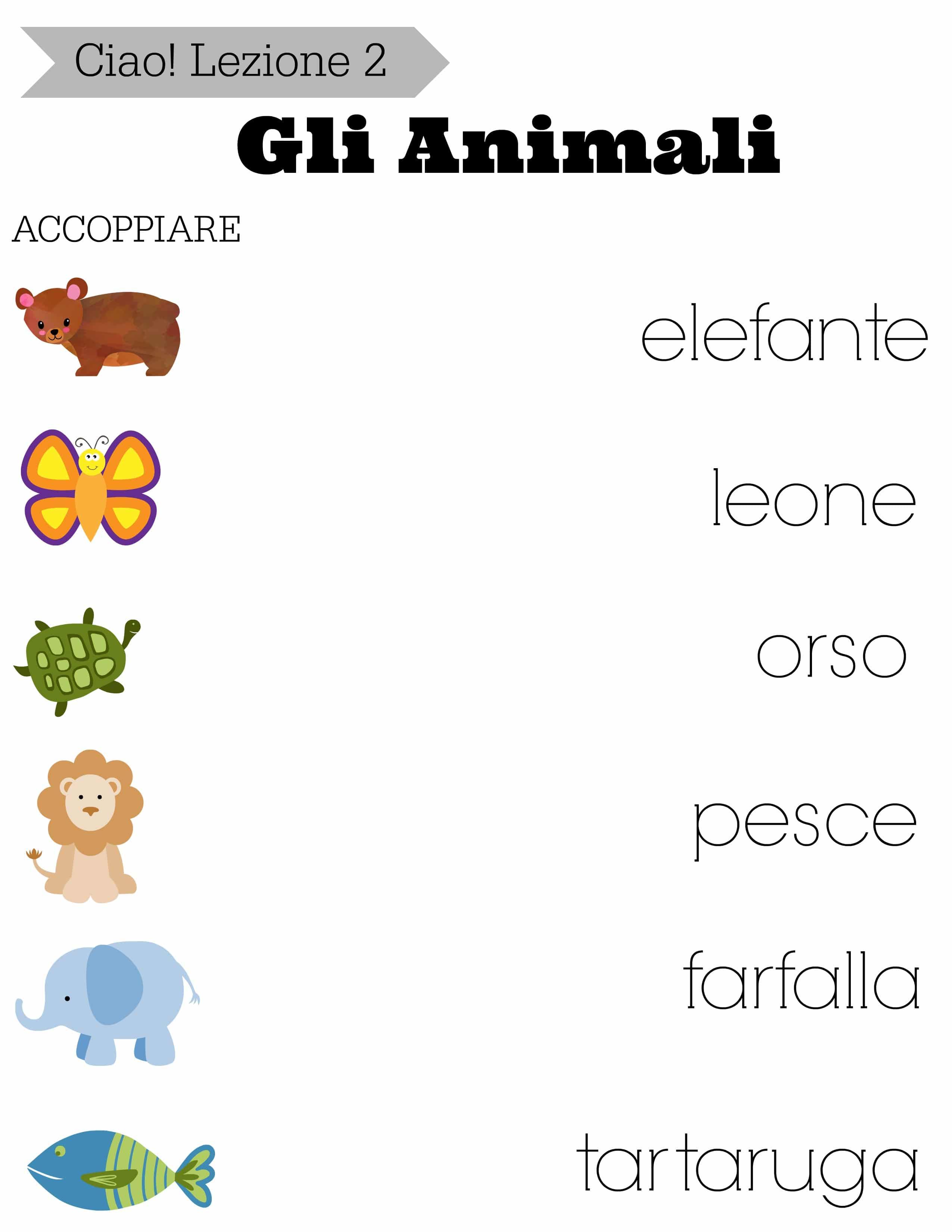 Free Printable Animal Matching Worksheet Leone Educational