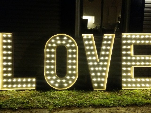 wedding love letters with lights