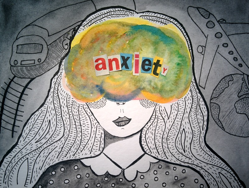 Woman with anxiety bubble around head