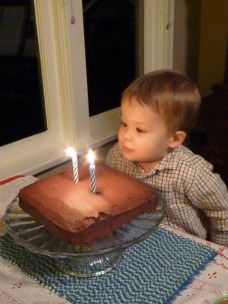 Miles knew for days in advance that his birthday meant a cake with candles, and he practiced blowing out candles each night at dinner. He did not disappoint on the actual day!