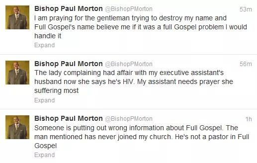 """Bishop Paul Morton Tweets about Craig Davis"""