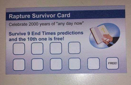 The apocalypse / rapture survival card.