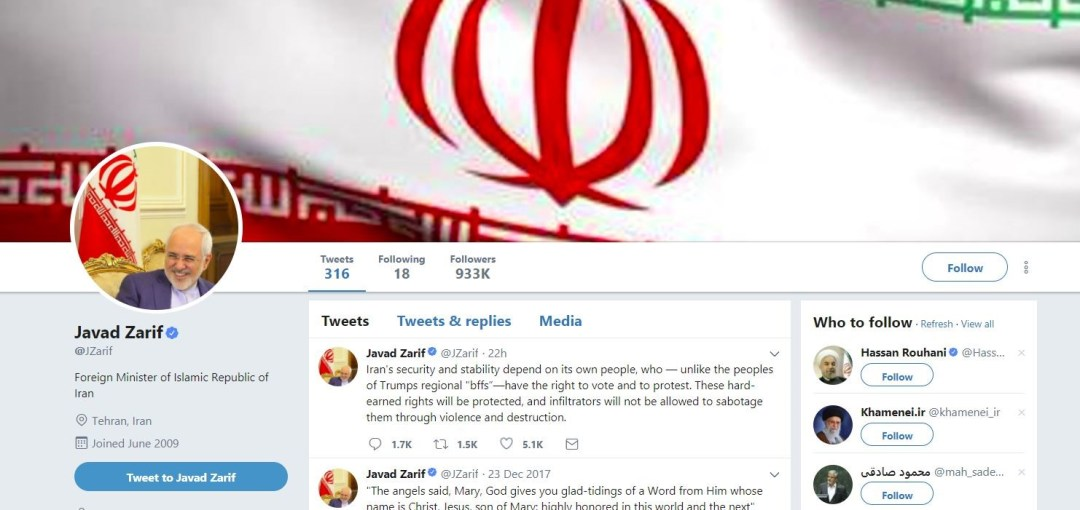 Twitter profile of Iranian Foreign Minister Javad Zarif.