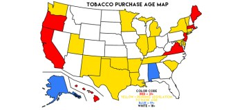 Current States With Pending Tobacco 21 Legislation Map
