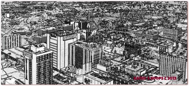 Cincinnati real estate in black and white