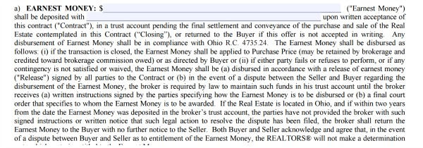 Earnest Money real estate