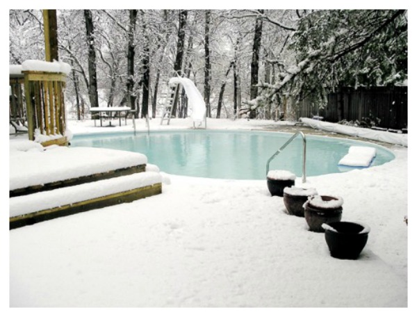 outdoor pool covered with snow