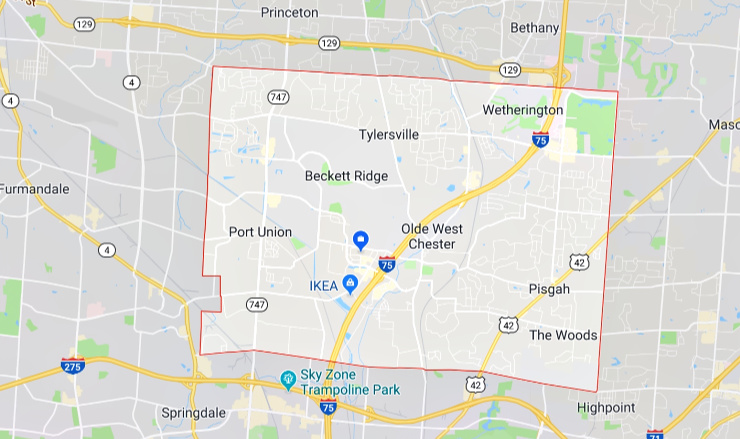 google map of west chester township