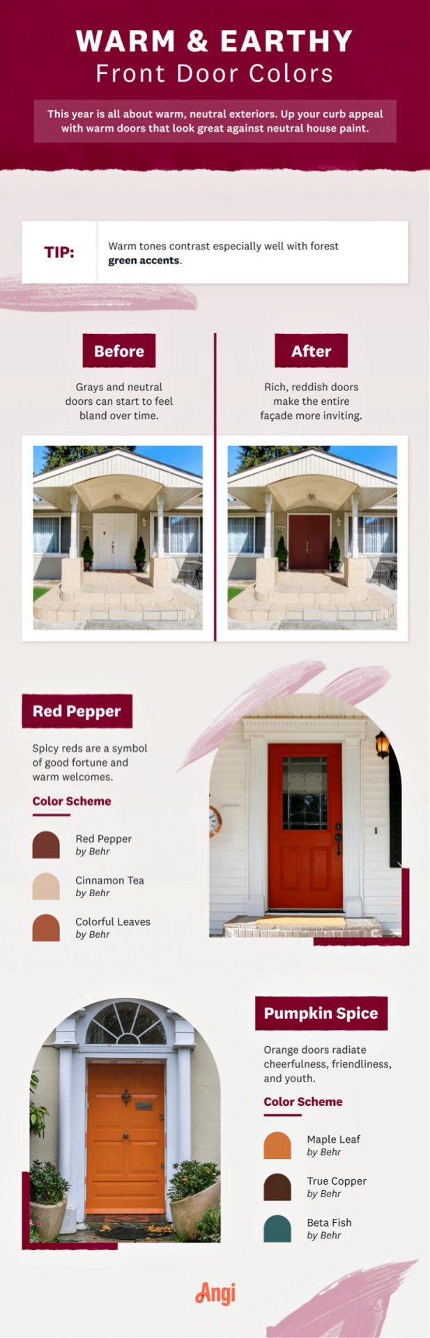 infographic on door paint colors warm and earthy