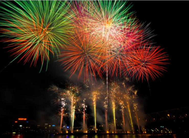 Photo of Rozzi Fireworks in downtown Cincinnati