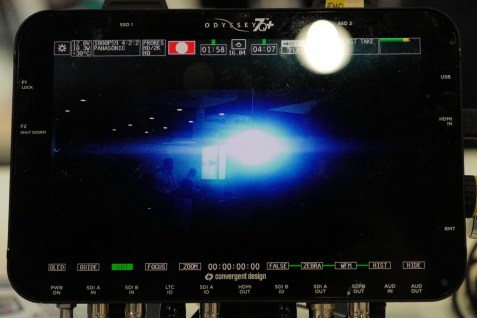 A view of the typical anamorphic flare produced by the P+S Technik 35-70mm