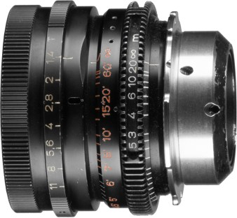 Note the after-market focus gear with window to view metric focus marks. This was an official Arri product that allowed users to install their own focus gears on the B-Speed primes. This lens also has an add-on PL mount which simply slips over the B mount and is held in place with set screws.
