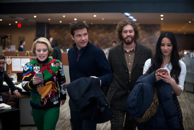 L-R: Kate McKinnon as Mary Winetoss, Jason Bateman as Josh Parker, T.J. Miller as Clay Vanstone, Olivia Munn as Tracey Hughes in OFFICE CHRISTMAS PARTY by Paramount Pictures, DreamWorks Pictures, and Reliance Entertainment