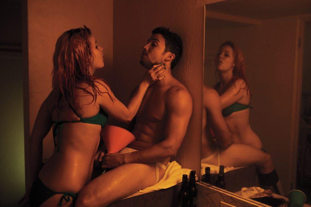 Girl chokes a hot muscular boy in Spring Breakers