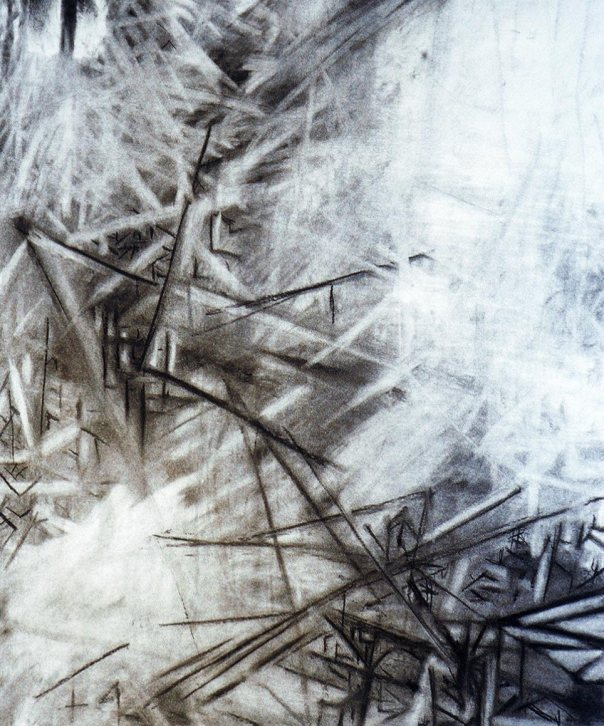 Abstract interior, charcoal and white chalk on Rives BFK paper