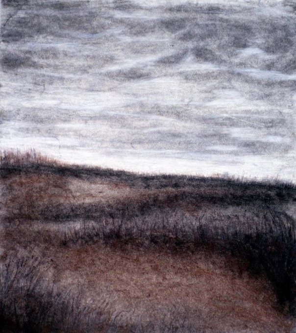 Red fields, red chalk and charcoal on paper