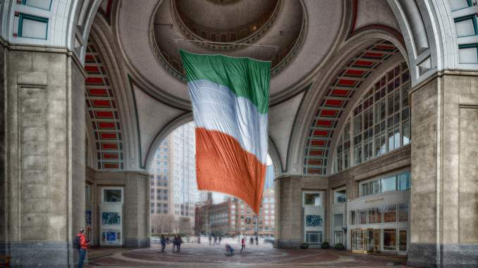 People all over the world show their pride in their nationality by flying the Irish flag. Photo credit: John Hoey.