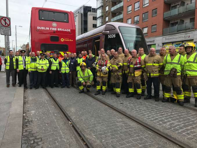Dublin Fire Brigade at the end of their training exercise with Luas and Dublin Bus. Photo credit: Bronwyn Molony.