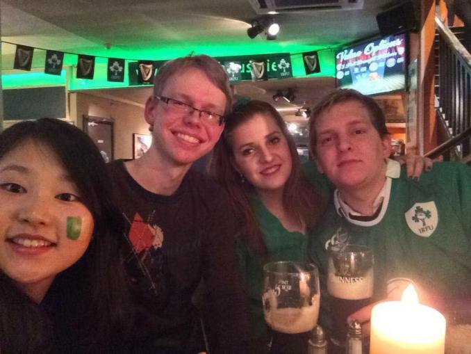 Håvard (right), with some of his friends from college at The Ivy House. Image credit: Private