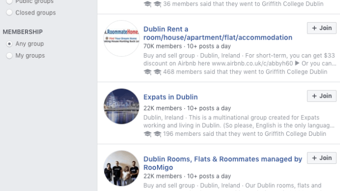 Renting a place in Dublin on Facebook. Image credit: Screenshot, Facebook