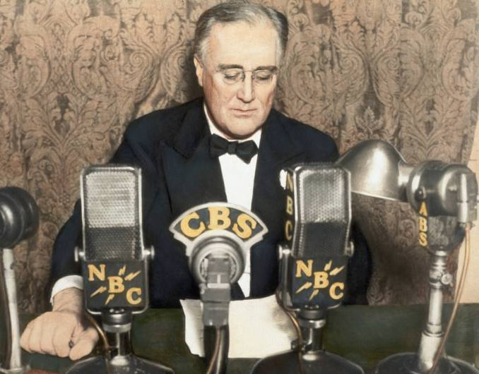 Franklin D. Roosevelt doing his 'Fireside Chats'
