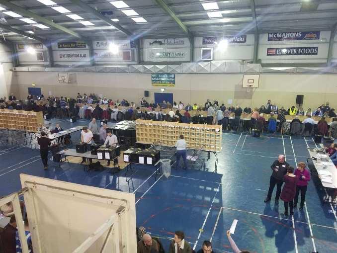 Count ongoing at St. Josephs Community Centre, Wexford. Image: Joseph Okoh