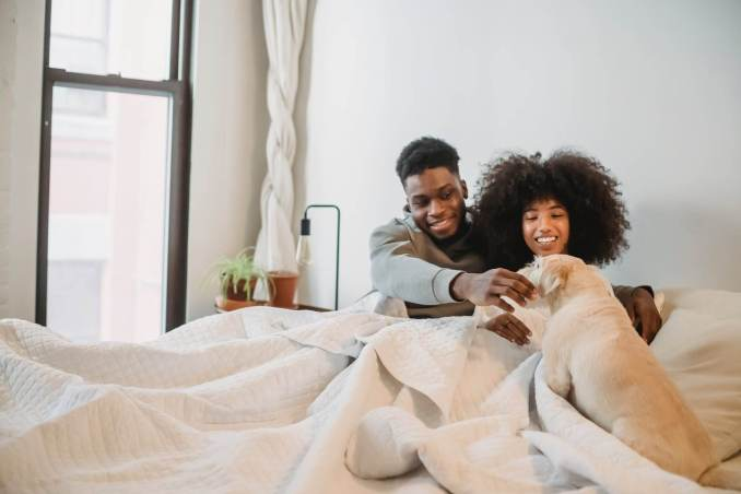 loving black couple resting in bed with dog