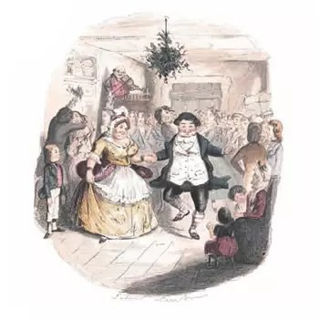 Illustration from the original publication of A Christmas Carol showing a joyous Mr and Mrs Fezziwig dancing away at their Christmas party. The scene is one of a number from the past that Ebenezer Scrooge is transported to by the Ghost of Christmas Past.