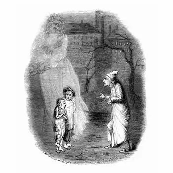 Illustration from the original publication of A Christmas Carol showing Ebenezer Scrooge being taken to see two emaciated children - named as Ignorance and Want - by the Ghost of Christmas Present.