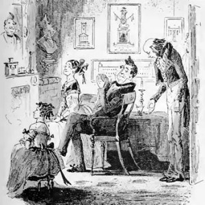 The Meekness of Mr. Pecksniff and his charming daughters. An illustration by Hablot Knight Browne (Phiz) produced for the original publication of Charles Dickens's Life and Adventures of Martin Chuzzlewit.