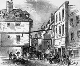 Illustration of Field Lane, dating from the 1840s.